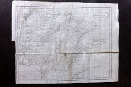 Lyttleton 1811 Antique Map. Spain and Portugal